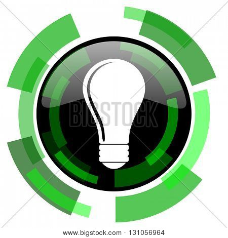 bulb icon, green modern design glossy round button, web and mobile app design illustration