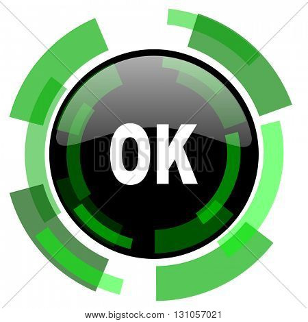 ok icon, green modern design glossy round button, web and mobile app design illustration