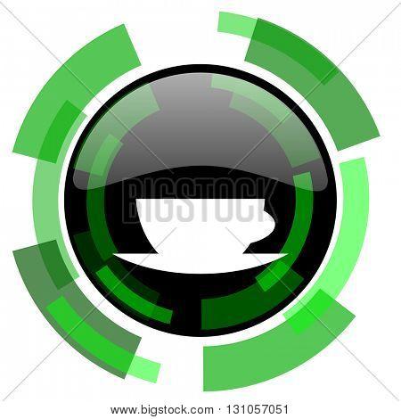 espresso icon, green modern design glossy round button, web and mobile app design illustration