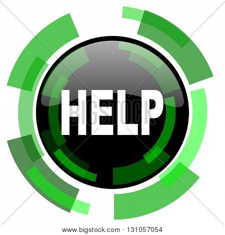 help icon, green modern design glossy round button, web and mobile app design illustration