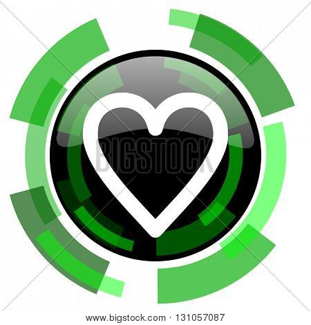 heart icon, green modern design glossy round button, web and mobile app design illustration