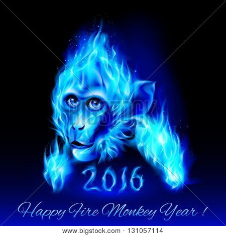 Head of fire Monkey in blue color. New Years Banner design on black