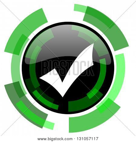 accept icon, green modern design glossy round button, web and mobile app design illustration