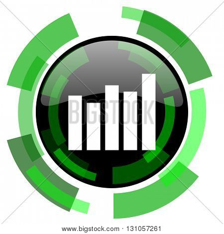 graph icon, green modern design glossy round button, web and mobile app design illustration