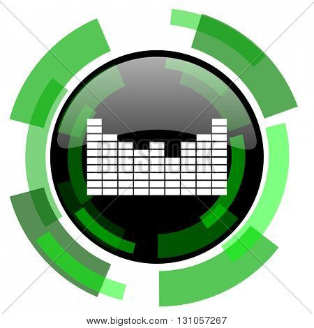 sound icon, green modern design glossy round button, web and mobile app design illustration