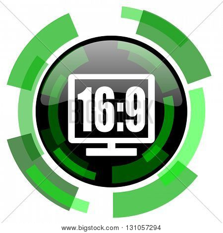 16 9 display icon, green modern design glossy round button, web and mobile app design illustration
