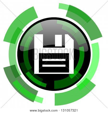 disk icon, green modern design glossy round button, web and mobile app design illustration