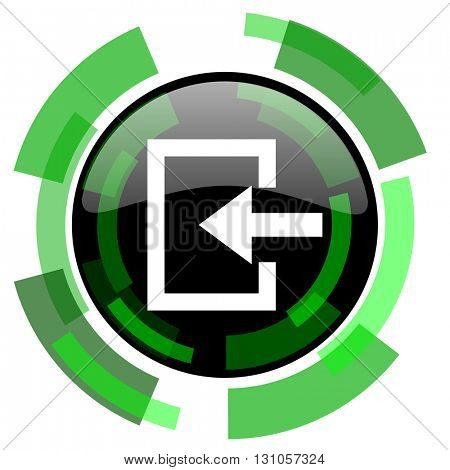 enter icon, green modern design glossy round button, web and mobile app design illustration