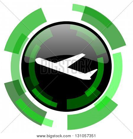deparures icon, green modern design glossy round button, web and mobile app design illustration