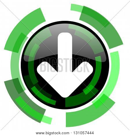 download arrow icon, green modern design glossy round button, web and mobile app design illustration