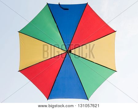 Look up the colorful umbrella at clear sky