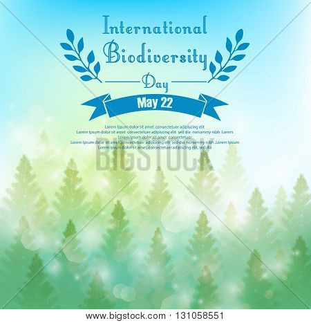 Vector illustration of Biodiversity background with palm trees and ribbon