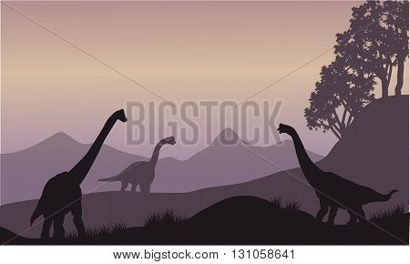 Silhouette of many brachiosaurus in the hills