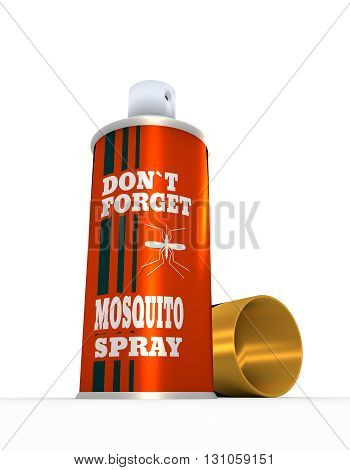 Illustration of anti-mosquito spray with cap over white background. 3D rendering. Metallic painting label. Do not forget mosquito spray text.