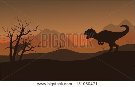 Silhouette of allosaurus in dry hills at afternoon
