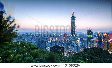 The Taipei City Skyline at sunset with nice color Taiwan