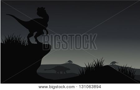 Silhouette of Ankylosaurus and dilophosaurus with gray backgrounds