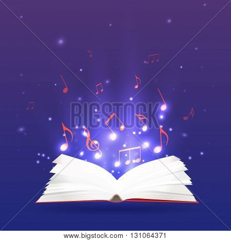 Vector illustration of an open book with rays and musical notes. Music notebook study and education.