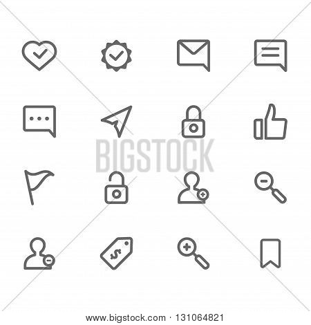 Personal line icons gray set of 16