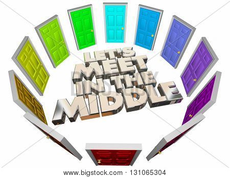 Lets Meet in the Middle Doors Compromise Agreement 3d Illustration