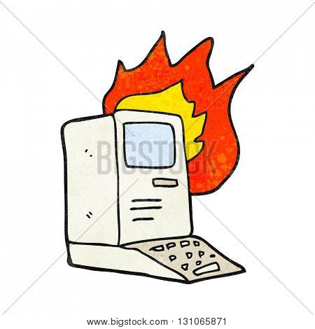 freehand textured cartoon old computer on fire