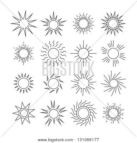 Sun line vector icons. Nature sun in linear style, weather hot sun set illustration