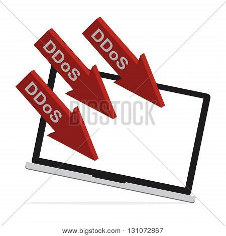 Computer laptop got Distributed Denial of Service ddos attack concept design. Vector illustration cyber crime in computer security concept.