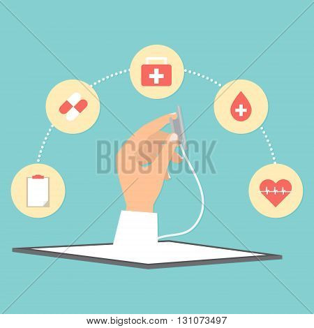 Doctor's hand with stethoscope from tablet telemedicine concept. Vector illustration internet of things technology trend.