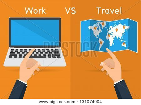 Businessman hands pointing to computer laptop for work and world map for travel on orange background. Vector illustration concept of life and work balance.
