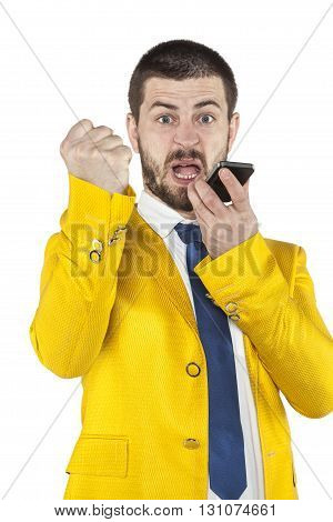 Businessman Shouting Into The Phone