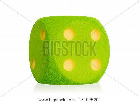 Large Green Foam Die Isolated - 4