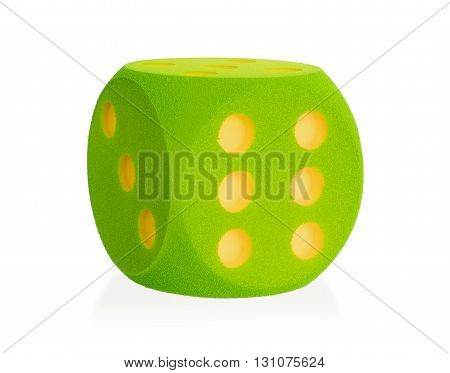 Large Green Foam Die Isolated - 6