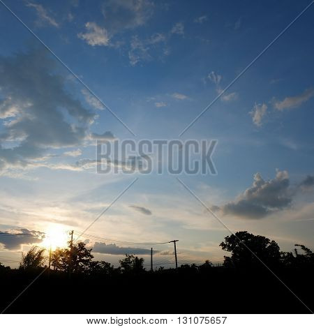 Silhouette Landscape With Dramatic Sunset Sky Background