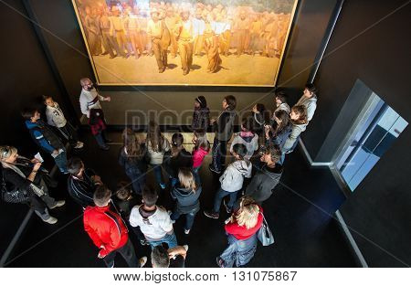 Milan Italy - April 12 2012: Young people in front of