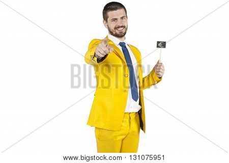 Businessman Holds In A Hand Euro Sign And Pointing At You
