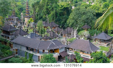 View from Above on a Temple Complex in Ubud Bali.