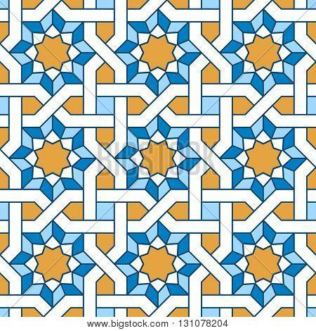 Arabic seamless pattern. Pattern fills with intertwining lines. Oriental, arabic style. Mosaic seamless patterns. Arabic ornaments. Vector illustration.