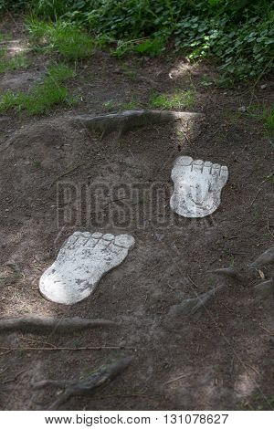 Two wooden feet in earth and grass