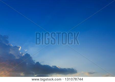 Light Of Sunbeams Through Clouds, Light Rays On Dramatic Sunset Sky Background