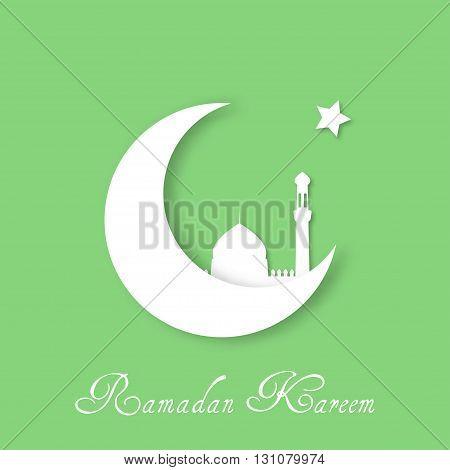 Ramadan Kareem vector background. Ramadan Kareem background with white crescent mosque and star. Ramadan Kareem greeting card. Stock vector.