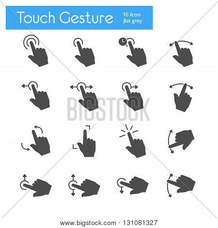 Touch Gesture gray flat of icons set of 16