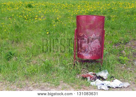 Debris lies next to a rubbish dump on the background of green grass and yellow flowers (problem of ecology)