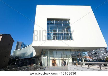 Milan Italy - January 24 2015: Porta Nuova the sinuous Porta Nuova building