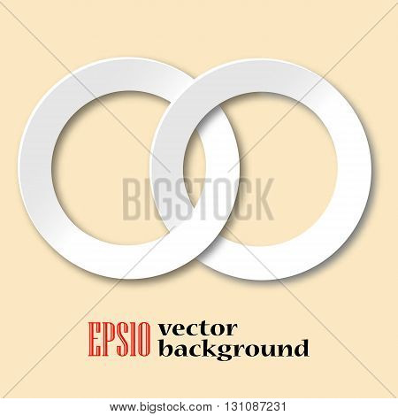 Contralateral rings on pastel background. Stylish laconic art illustration.