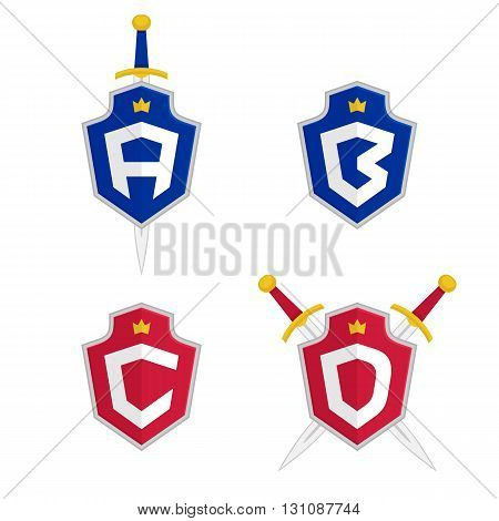 Letter A, B, C, D vector logo templates. Letter logo with shield and sword. Luxury logo, safety logo.