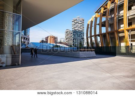 Milan Italy - January 26 2015: Porta Nuova the Bosco Verticale Towers seen from Aalto square