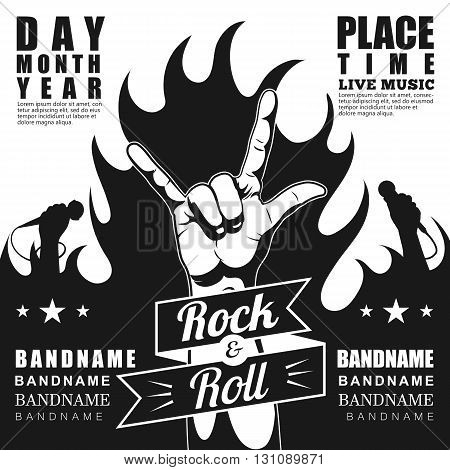 Rock festival poster, with rock n roll sign and fire.