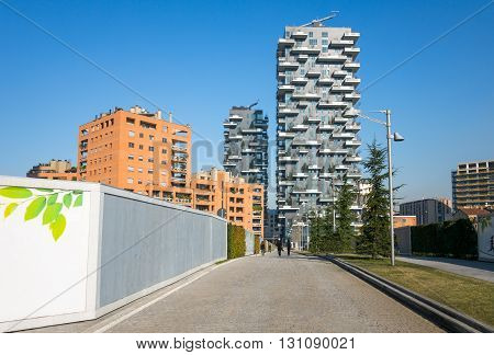 Milan Italy - February 9 2015: Porta Nuova view of the Bosco Verticale towers
