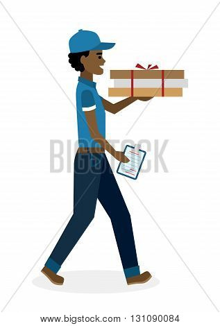 Delivery man with pizza boxes. Fast transportation. Isolated african american cartoon character on white background. Postman, courier with fresh pizza and clipboard. Handsome smiling male chararcter.