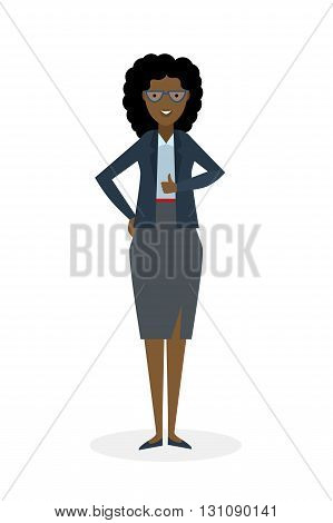Businesswoman with thump up on white background. African american white-collar gesturing thumb up. Successful and positive consultant. Greeting or agreement.